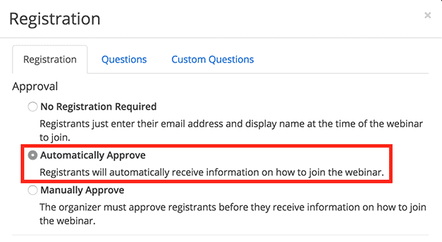 Automatically Approve option under Approval section