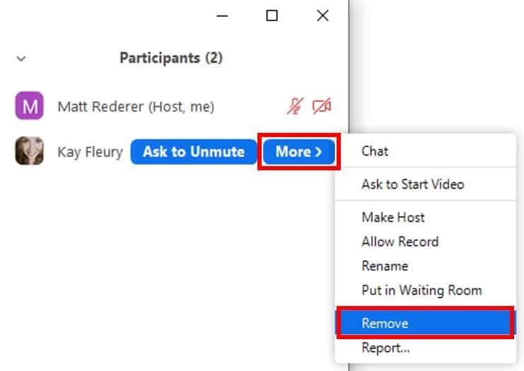 Remove participant buttons