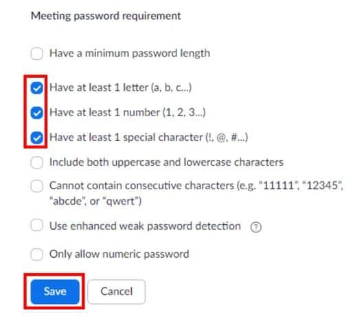 Selected meeting password requirements
