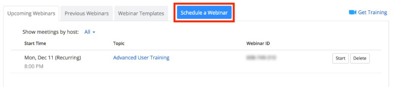 Schedule a Webinar button