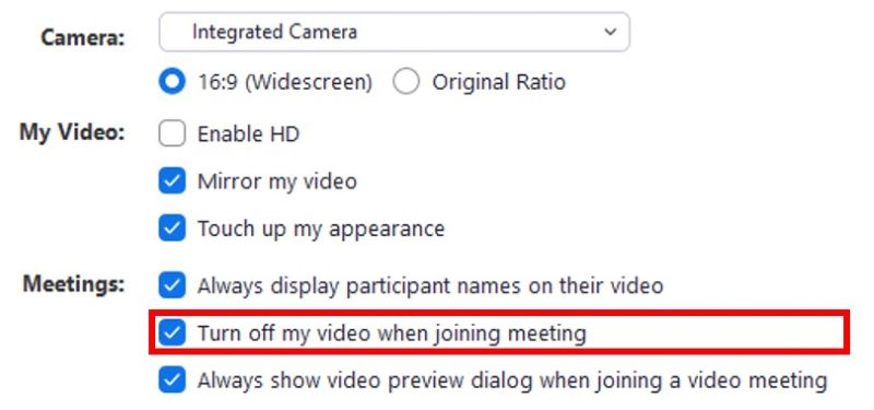 Turn off video when joining call setting button