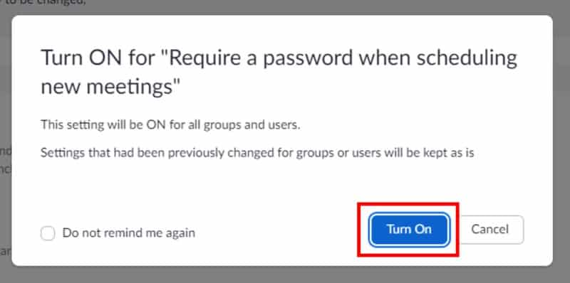 Enable password pop-up