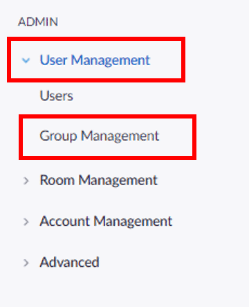 Accessing Group Management in the navigation panel