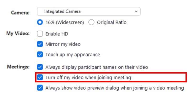 Video settings with turn off video when joining meeting button