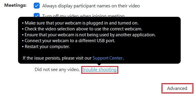 Video troubleshooting suggestions and the advanced video options access button
