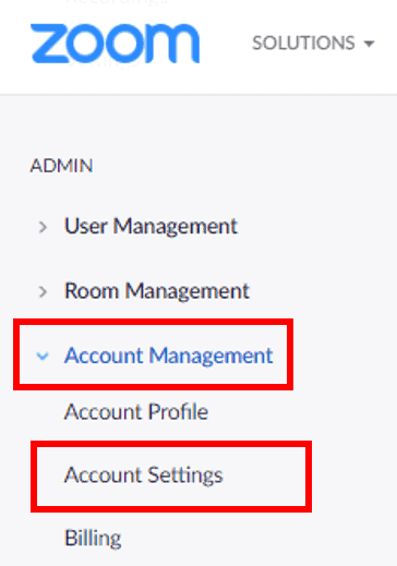 Accessing Account Settings in the navigation panel