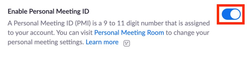 On toggle next to Enable Personal Meeting ID