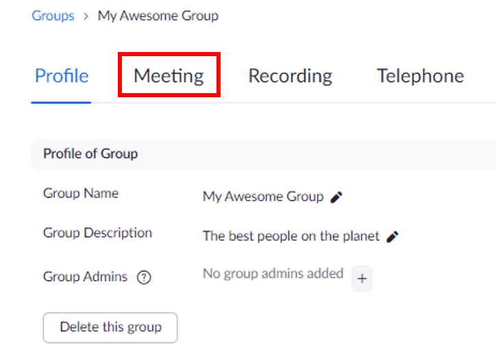 Meeting link highlighted on group profile page