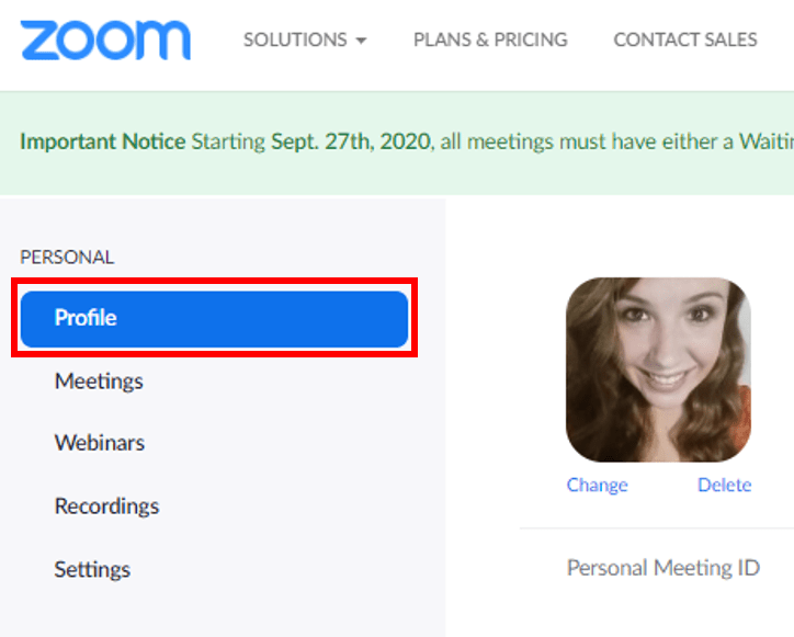 Profile link located in the navigation panel