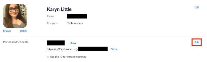 Personal Meeting ID section on user profile