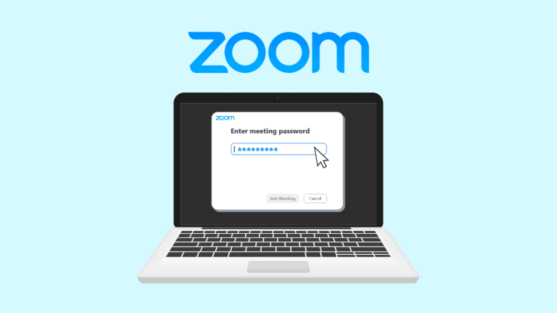 Zoom displayed on a computer along with a password field