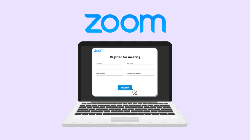 A graphic of Zoom displayed on a computer with a registration form
