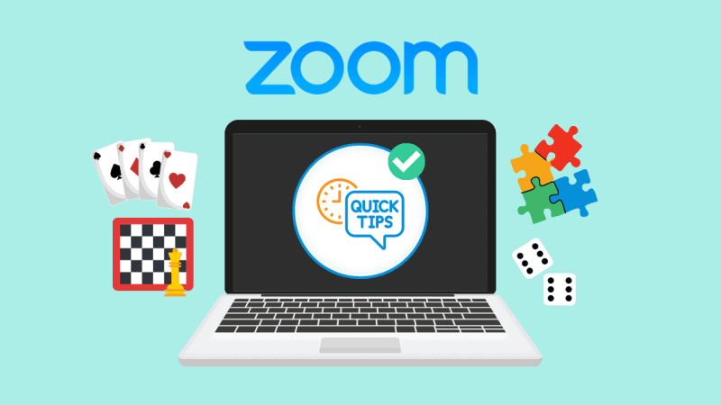 Zoom screen with cards, board games, and dice