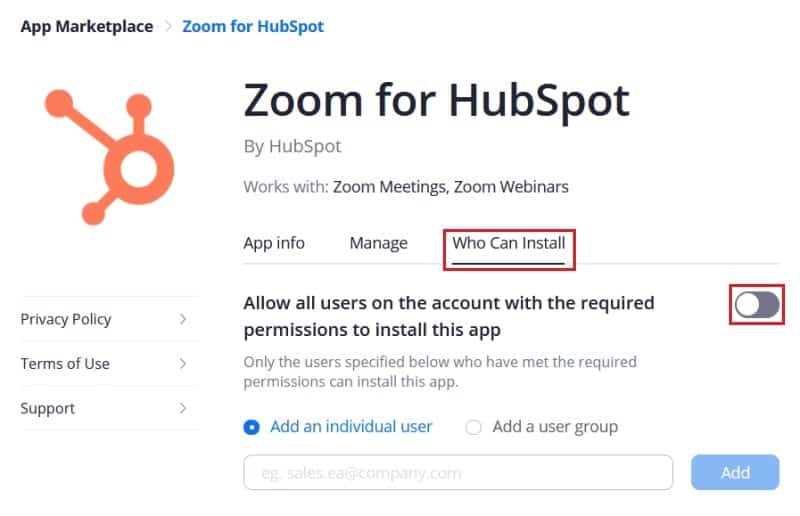 Managing who can install the Zoom for HubSpot add-on