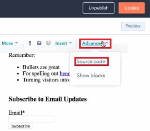 View and edit a HubSpot email module's source code