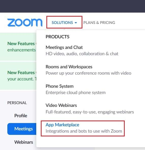 The link to the Zoom add-on marketplace