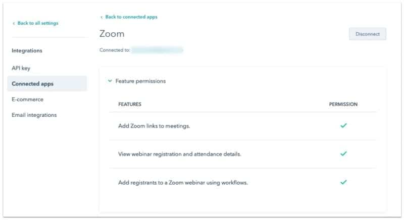 The options menu for the connected Zoom integration for HubSpot