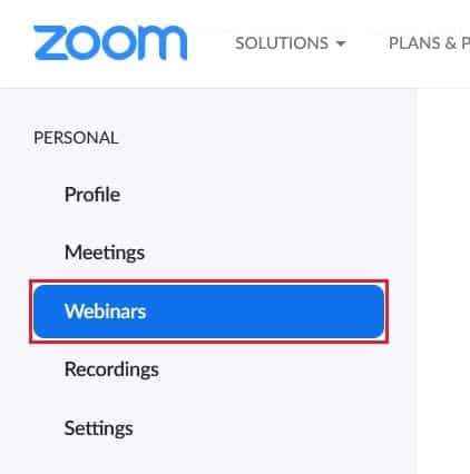 Menu for viewing or scheduling webinars on Zoom