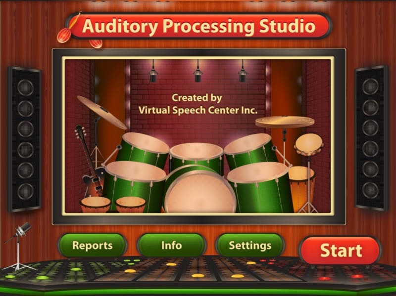 Auditory Processing Studio home screen