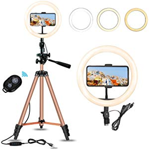Eocean 8 inch ring light with stand, ring light, remote control, and three light modes
