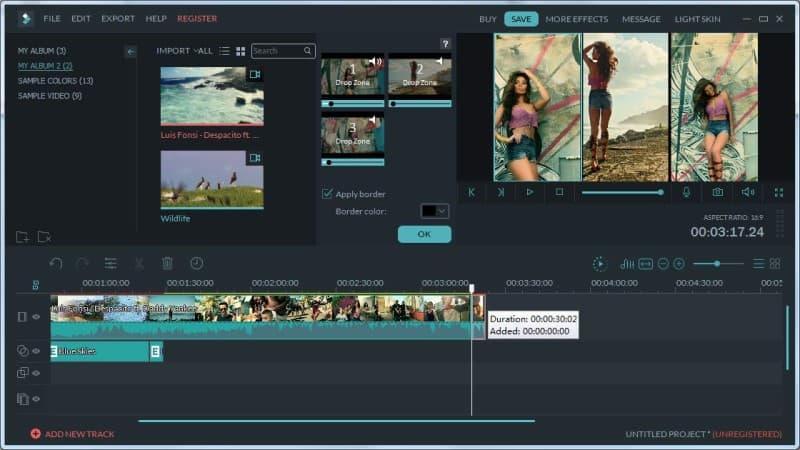Filmora editing page
