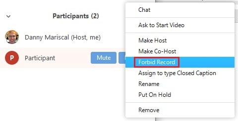 Revoking a participant's recording permissions