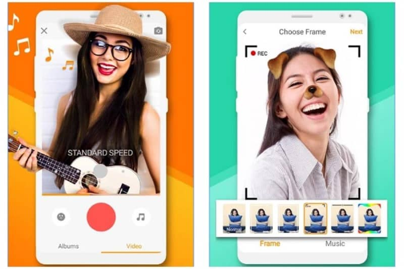 Two girls using filters on Kwai