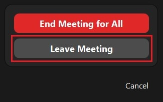Leaving a Zoom meeting as the host without ending it