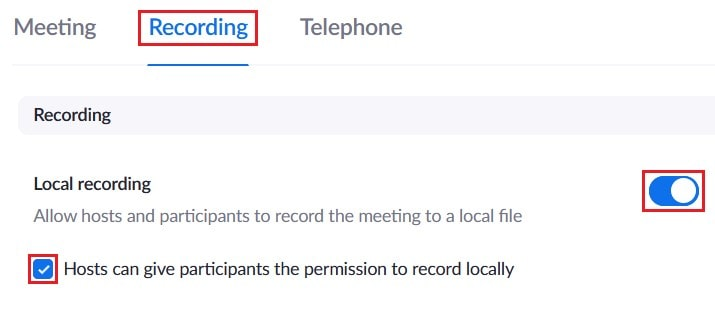 Enabling or disabling local recording options