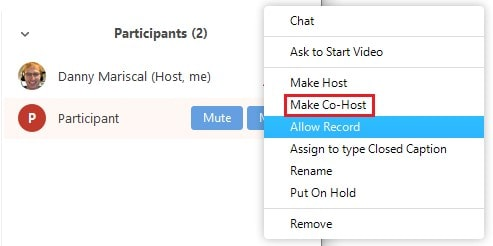 Giving co-host permissions a meeting attendee