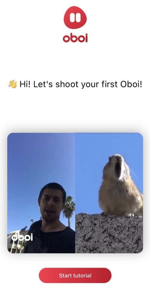 Man and gopher Oboi split-screen