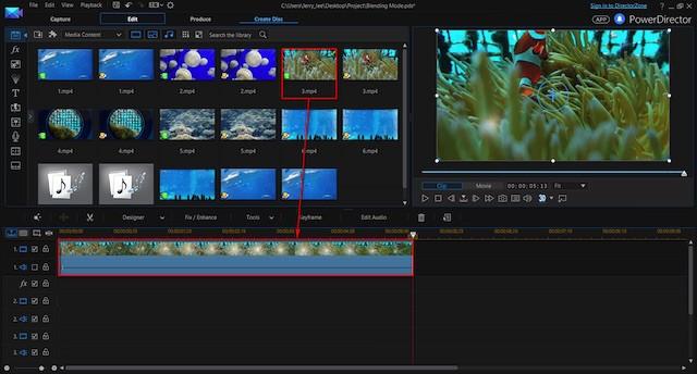 Power Director editing screen