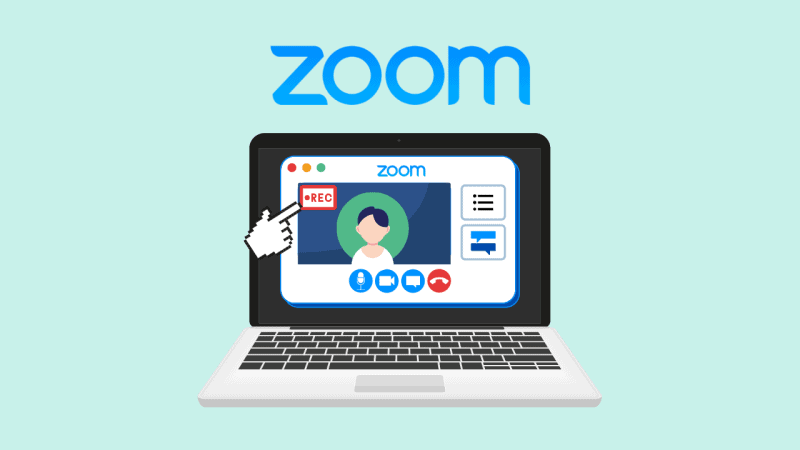 Laptop showing a Zoom meeting with a hand cursor pointing towards a recording indicator
