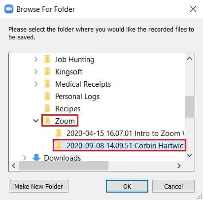 Saving converted Zoom meeting recording files to a local folder
