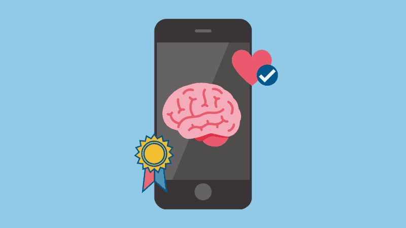 A graphic of a smartphone with a brain displayed on the screen