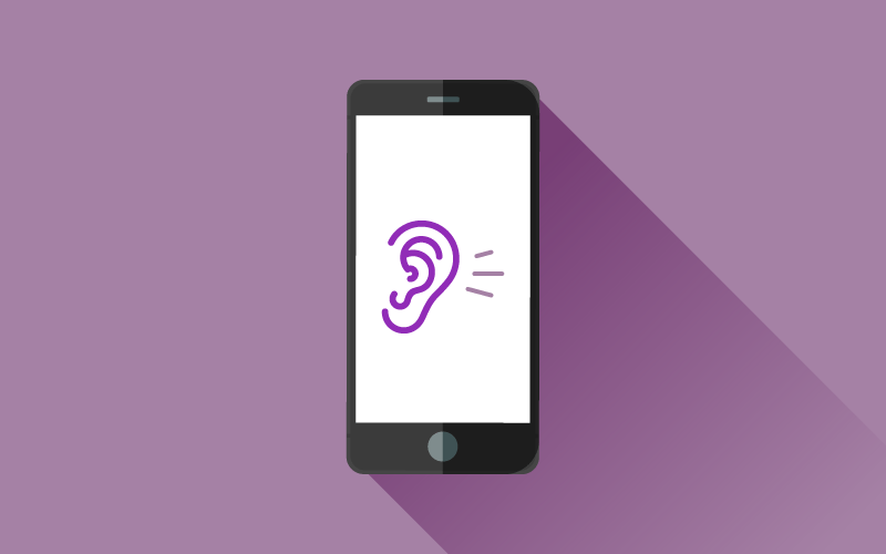 A graphic of a smartphone with an ear displayed on the screen