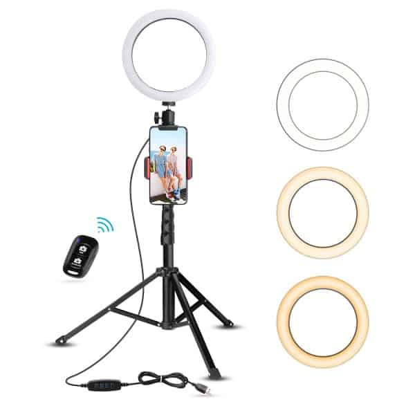 UBeesize 8 inch ring light with stand, remote control, and three light modes