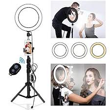 Yefound 9 inch ring light stand with phone and remote, photographer shooting model's picture, makeup artist at work, and three light modes