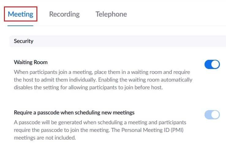 General Zoom meeting settings
