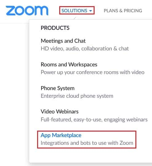 Go to Zoom's add-on marketplace
