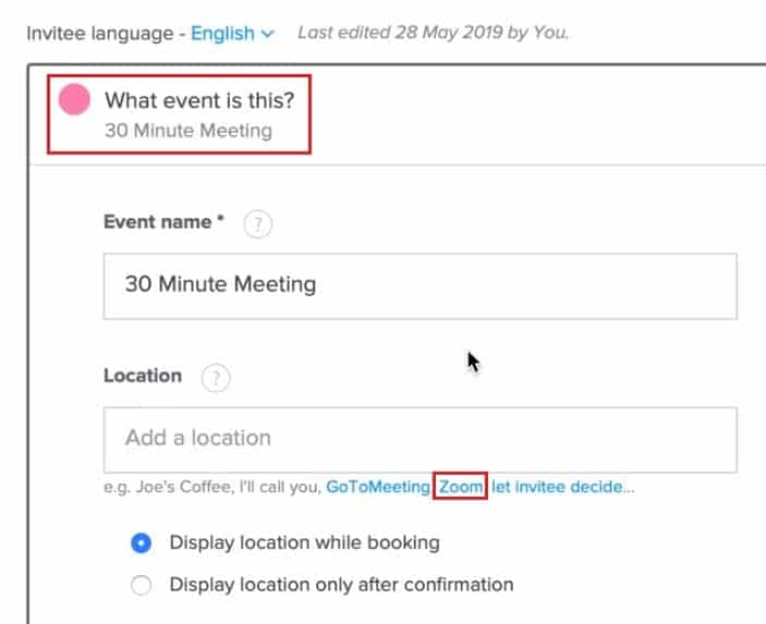 Setting Zoom as the meeting location for a Calendly event