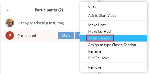 Turning on a participant's recording privileges