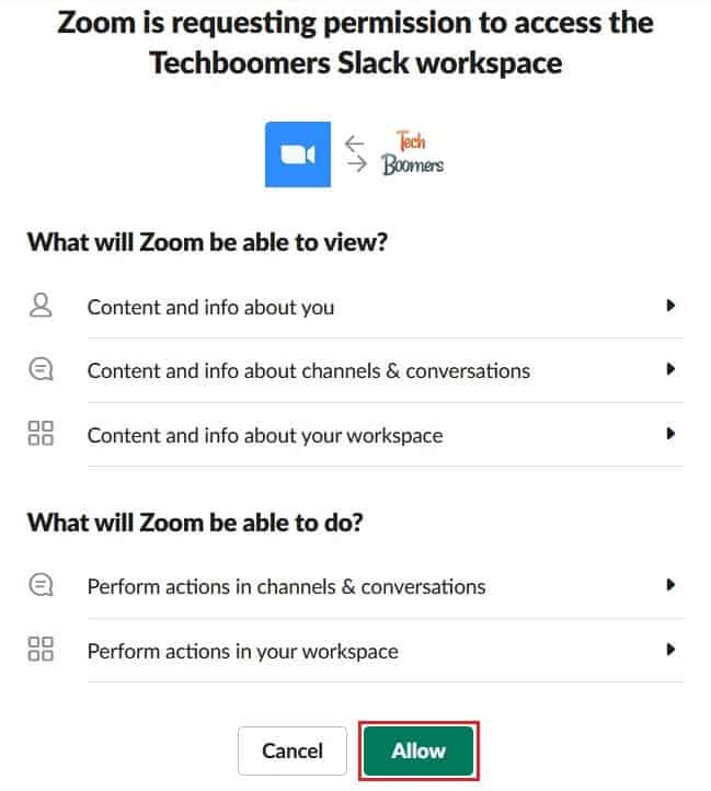 Allowing Zoom to access functions in Slack
