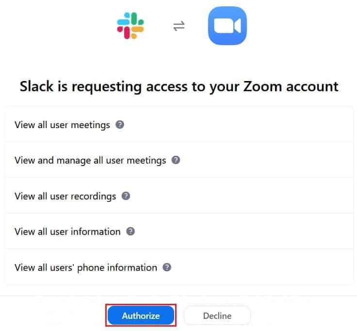 Allowing Slack to access functions on your Zoom account