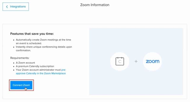 Connect your Zoom account to Calendly