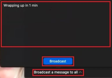 Sending a chat message to all breakout rooms at once