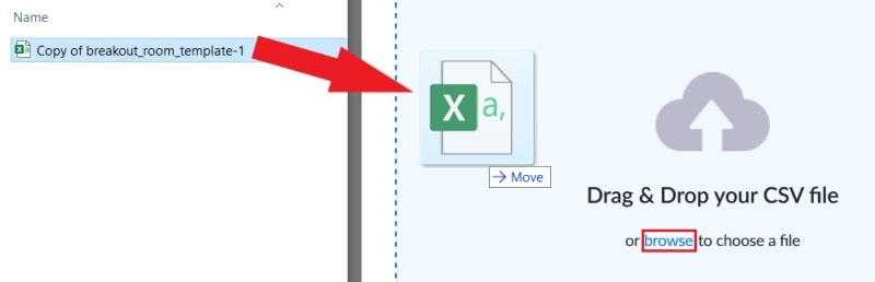 Uploading a CSV file by browsing for it or using drag and drop