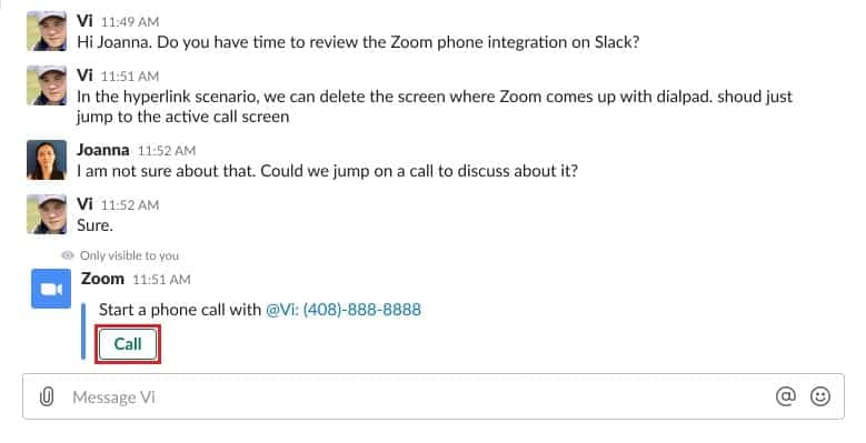 Button for initiating a Zoom Phone call in Slack