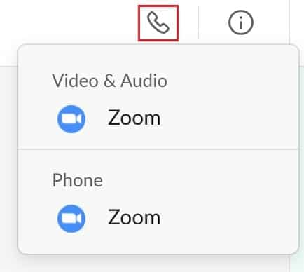 Starting a Zoom call from a direct message chat room