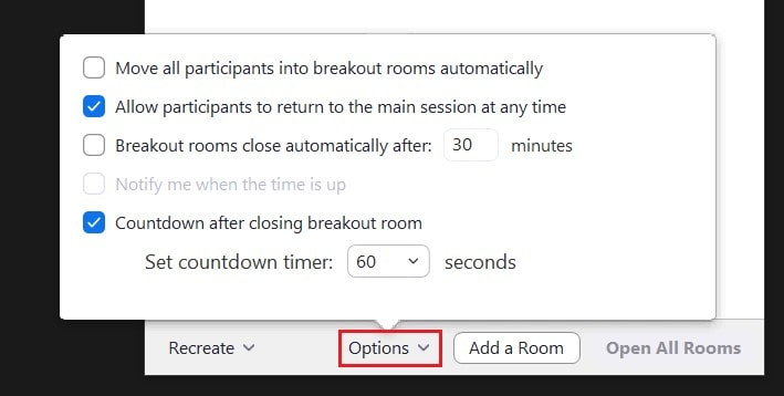Host options for breakout rooms